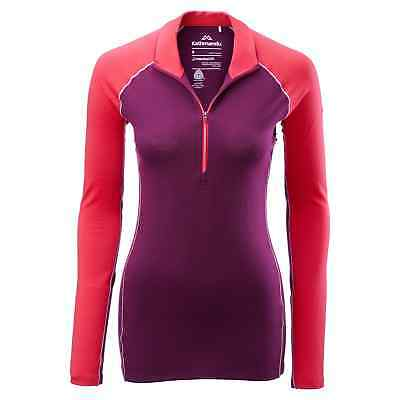 Kathmandu Flinders Women's Merino Wool Hiking Walking Thermal 1/4 Zip Top