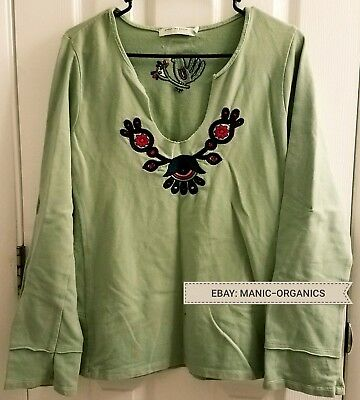 UNDER THE CANOPY Organic Cotton Sweatshirt Yoga L/S Top in Sage XL DISCONTINUED!