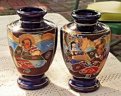 PAIR OF VINTAGE 1920's-1930's HAND PAINTED CERAMIC SMALL VASES / JARS - JAPAN