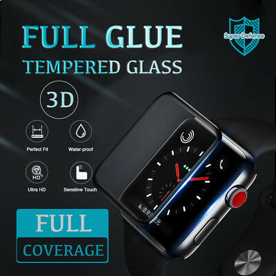 3D FullGlue Tempered Glass Screen Protector FullCover For Apple Watch Series4321