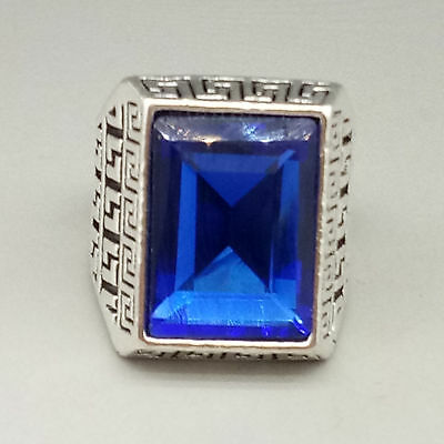 Chinese Exquisite Tibetan silver Inlaid Sapphire  National Fashion Ring   L799