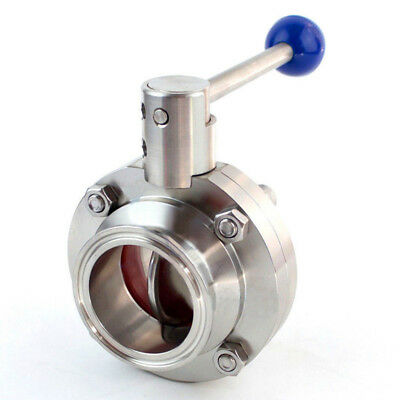 """1.5"""" Sanitary Butterfly Valve Stainless Steel 304 Tri-Clamp Silicone Sealing"""