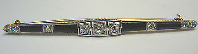 Antique Art Deco Vintage Diamond Onyx Platinum 18K Pin Brooch EGL USA $2,750.00