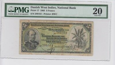 Danish West Indies 5 francs 1905 banknote. Very rare