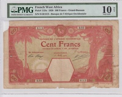 French West africa Grand Bassam 100 francs 1920 early date banknote