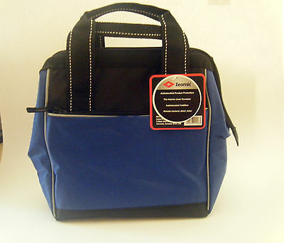 Satchel Style Insulated  Blue/black Zippered Travel Lunch Bag Case With Handles