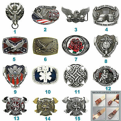Western Biker Rider Firefighter Belt Buckle Mix Styles Choice Stock in US