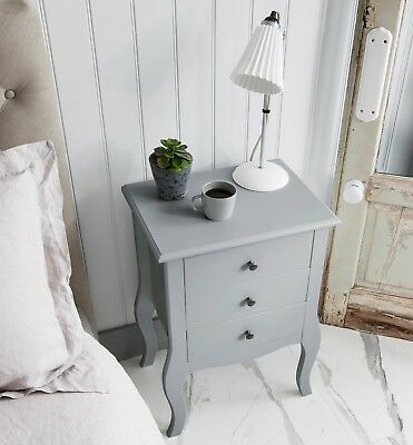 Bedside Chest Side Table with Drawers Cabinet Camille Grey