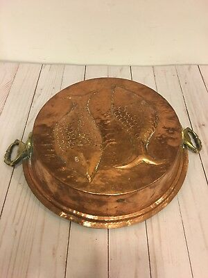 Vintage Large Hammered Copper Pan Fish Jello Mold 16 Inch Handle to Handle
