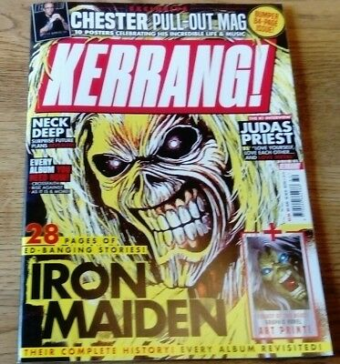 Kerrang 1734 28 pages of Ed - Iron Maiden cover & Chester Bennington pullout mag