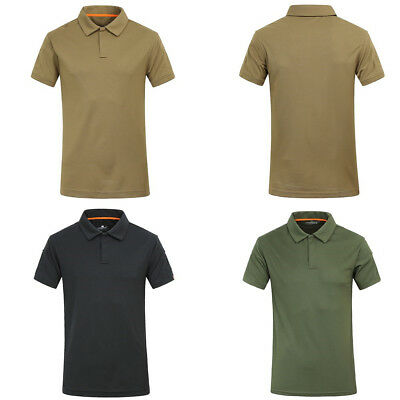 Mens Combat Tactical T-Shirt Casual POLO Shirt Army Outdoor Quick Drying Hiking