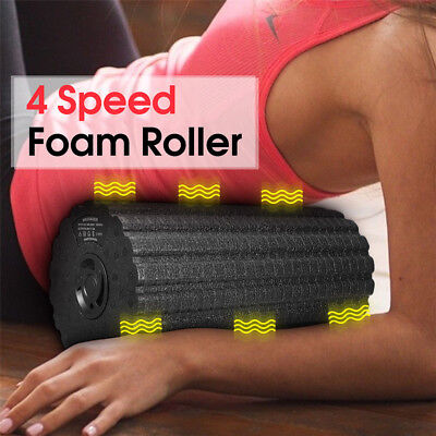 Electric 4 Speed Rechargeable Vibrating Foam Roller Body Muscle Point Massage