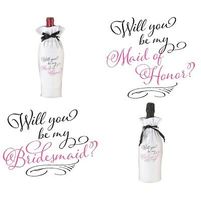Will You Be My Bridesmaid Maid of Honor Wine Bottle Bag Wedding Favour Gift