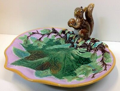"Victorian George Jones Majolica ""Squirrel"" Nut Dish 1869."