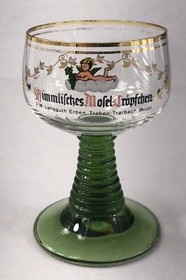 Vintage German ROEMER Green and Gold Wine Glass with Baby on a cloud ONE