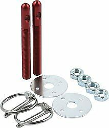 Aluminum Hood Pin Kit With 12 Pins And 14 Clips Red