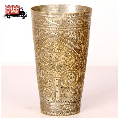 Old 1930's Handcrafted Bucket Engraved Brass Milk / Lassi Glass Rich Patina 8290