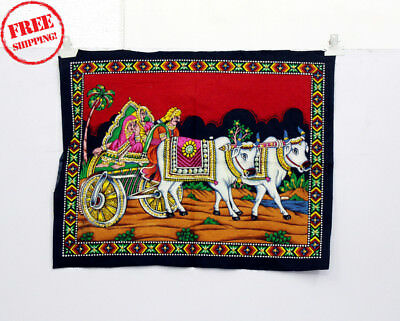 Unique Handmade Color Painting Of Bullock Cart On Cloth 10403