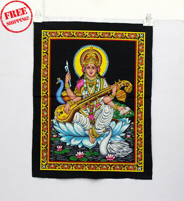 Unique Handmade Color Painting Of Lordess Sarswati On Cloth 10408