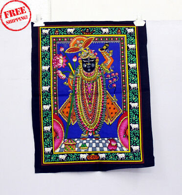 Unique Handmade Color Painting Of Lord Shrinath Ji On Cloth 10410