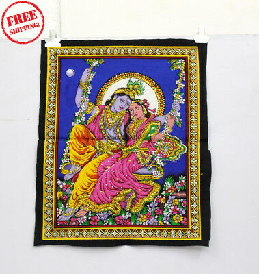 Unique Handmade Color Painting Of Lord And Lordess Radha Krishna On Cloth 10416