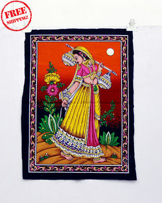 Unique Handmade Color Painting Of A Traditional Lady At Sunset On Cloth 10404