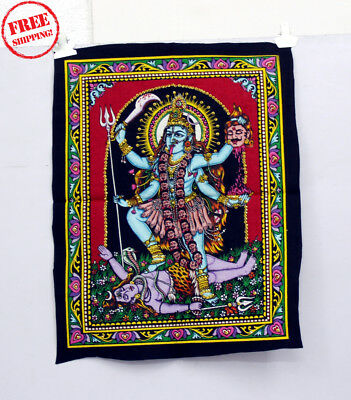 Unique Handmade Color Painting Of Lordess Kali Mata On Cloth 10411