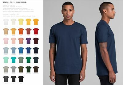 * NEW * AS Colour Staple Plain Blank Cotton T-SHIRT 5001 All Colours S - 3XL