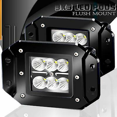 "2 x 4inch Flush Mount CREE LED Work Light Bar Flood 12V24V Truck Reverse 5"" Lamp"