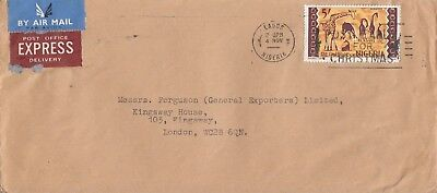 T 2801 Lagos 1960s air Express cover to the  UK; solo 5 shillings stamp