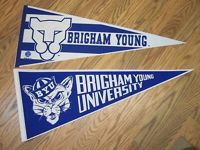 "LOT OF 2 BRIGHAM YOUNG UNIVERSITY VINTAGE PENNANTS FULL SIZE 12""x30"""