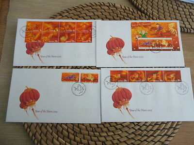 Christmas Island fdc 2002  x 4  year of the Horse  Set and Mini Sheet