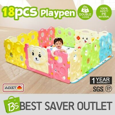 18 Sided Run Bear Baby Playpen with Game Panel Interactive Kids Toddler ABST