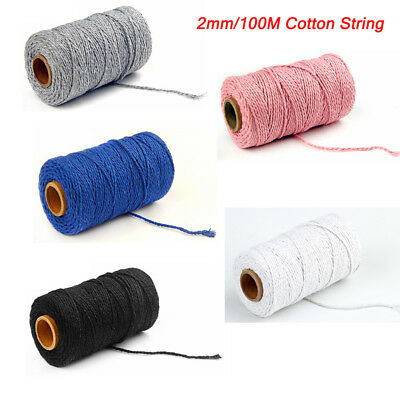 100m 100% Natural Cotton String Twisted Cord Beige Craft Macrame Artisan 2mm AC