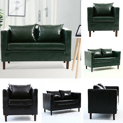 Antique Leather 1/2 Seater Tub Chair Armchair Sofa Couch Settee Lounge Seat Home