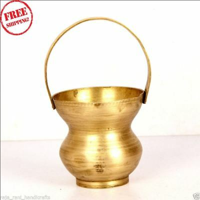 1930's Old Brass Small Handcrafted Engraved Kamandal / Holy Pot, Rich Patina 975