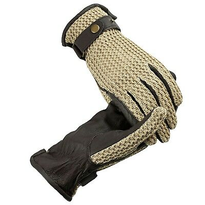 (Small, Chocolate Brown) - HorZe Crochet Back Riding Sport Gloves