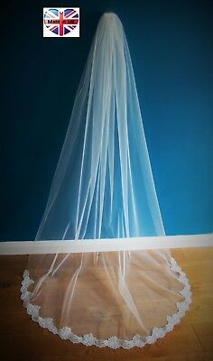 Wedding Veil *Chapel Length*1 Tier*Off white/ Ivory*Wide Corded Lace A*