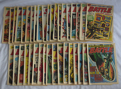 Collection of x37 1975 Battle Picture Weekly Boys War Comic's Inc. #1,2,3,4,5,6