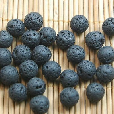 4 6 8 10mm Black Volcanic Lava Natural Gemstone Round Spacer Loose Stone Beads