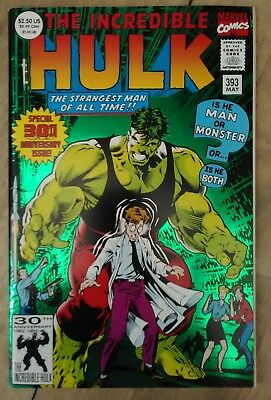 Incredible Hulk #393 1992 VF+ Marvel Avengers Comics 30th Anniversary Foil Cover