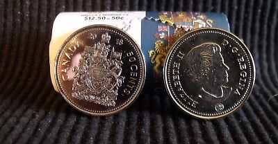 2-CANADA 2018 New 50 cents Coat of Arms of CANADA ,BU direct from mint roll..