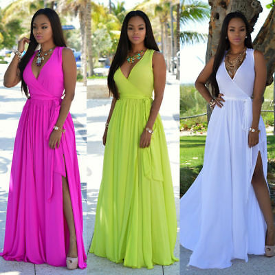 Womens Floral V-Neck Sexy Long Dress Ladies Maxi Holiday Summer BOHO Dresses