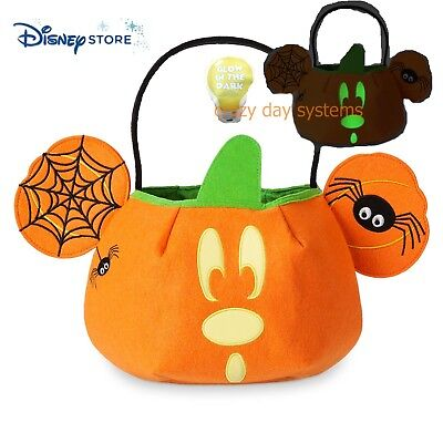 NWT Disney Store Halloween Mickey Mouse Glow In Dark Lined Trick or Treat Bag