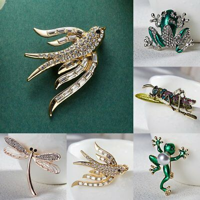 Vintage Pearl Crystal Frog Dragonfly Animal Brooch Pin Womens Costume Jewellery