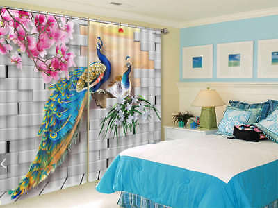 Peacock Beauty Feather 3D Curtains Blockout Photo Printing Curtains Drape Fabric