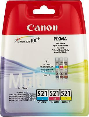 Original Canon CLI-521 Colour Multi-pack cyan, Magenta, Yellow 3 Ink Cartridge