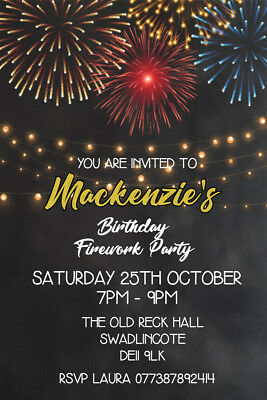 Personalised Fireworks Bonfire Party Invites Including Envelopes FW1