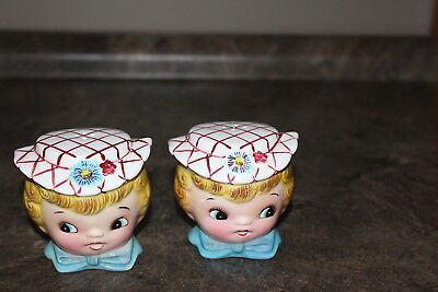 Vintage Lefton ESD Salt and Pepper Shakers with rubber plugs Girl Head no. 7028