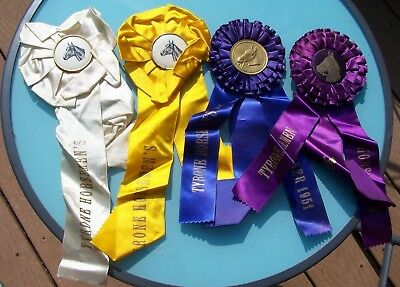Collectible Tyrone PA Horse Show Ribbons - 1950s -  4 Assorted - Made by Regalia